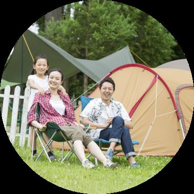 休日は家族でアウトドアキャンプ